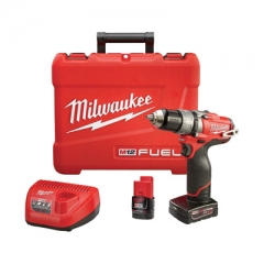 Milwaukee M12 FUEL Cordless Hammer Drill/Driver Kit — 1/2in. Chuck, 12 Volt, With 1 Compact 2.0 Ah and 1 Extended Run 4.0 Ah Battery, Model# 2404-22